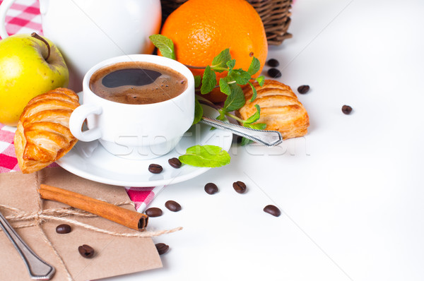 Finom reggeli gyönyörű kávé sütemények asztalterítő Stock fotó © manera