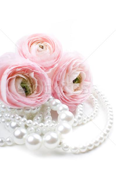 Roze bloemen parel kralen witte Stockfoto © manera