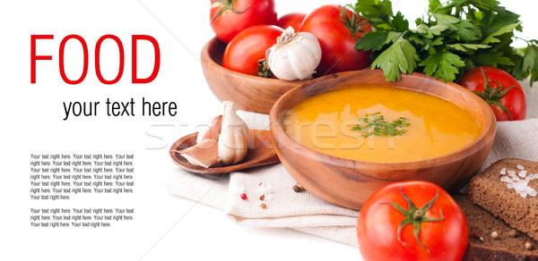 Vegetáriánus étel izolált sablon kész leves zöldségek Stock fotó © manera