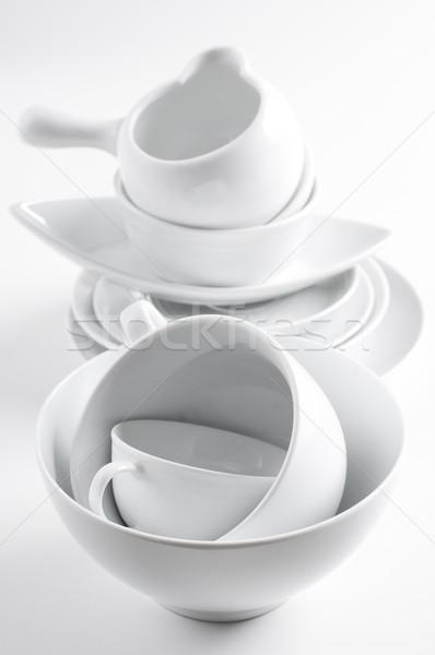 white crockery and kitchen utensils Stock photo © manera