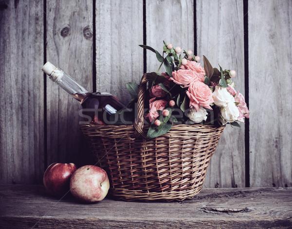Foto stock: Rústico · naturaleza · muerta · frescos · naturales · rosa · rosas