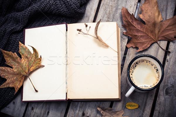 Stok fotoğraf: Bağbozumu · kitap · örgü · kazak · sonbahar · yaprakları · kahve · kupa