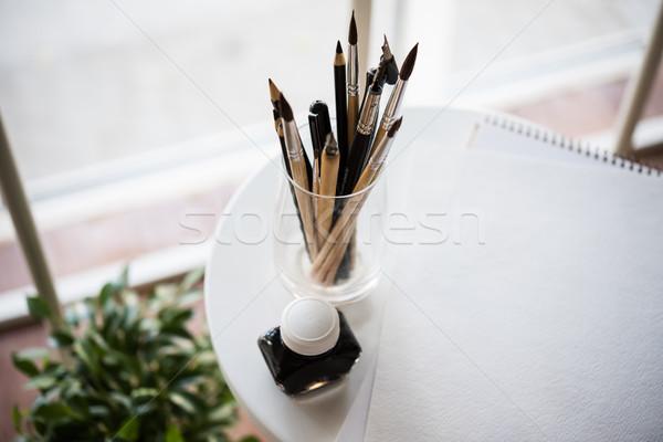 Kreatív munkaterület művészi festék papír tiszta Stock fotó © manera