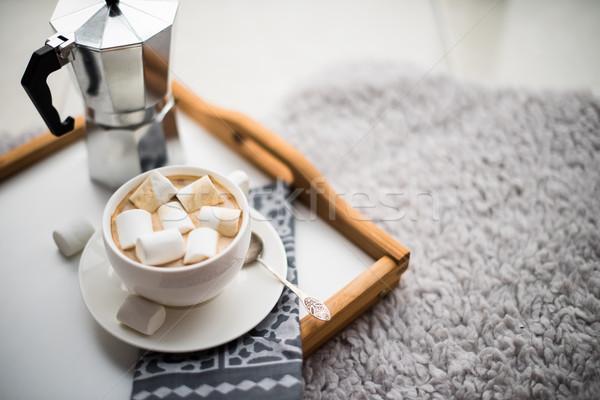 Meleg kényelmes otthon tálca csésze kávé Stock fotó © manera