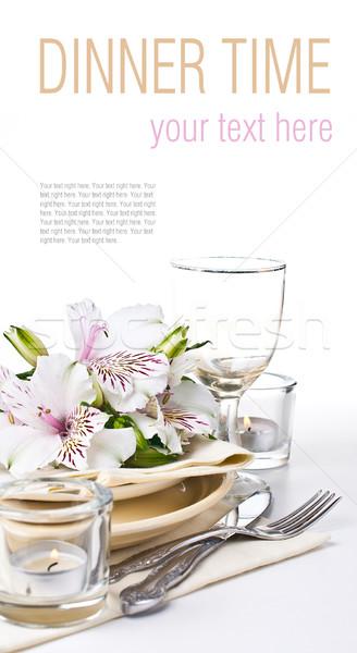 Stock fotó: Asztal · sablon · fehér · virágok · citromsárga · tányérok