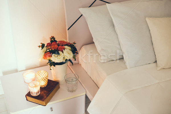 Bedside table decor with candles Stock photo © manera
