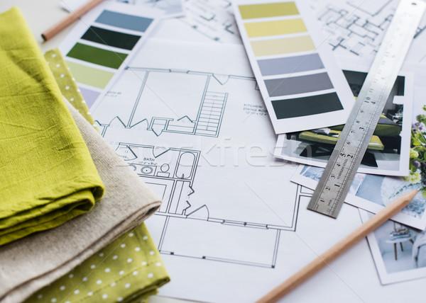 интерьер рабочих таблице архитектурный плана дома Сток-фото © manera