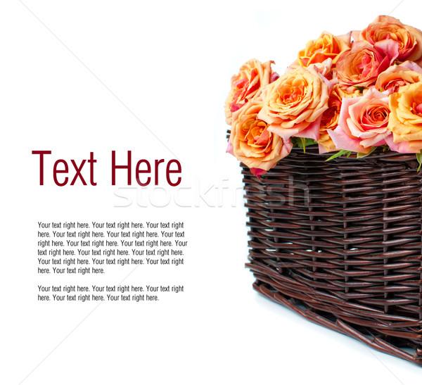 Egyezség rózsák fonott kosár narancs színek Stock fotó © manera