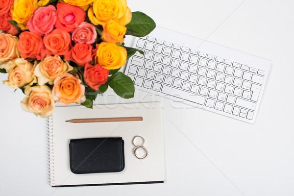Nőies fehér asztal munkaterület virágok startup Stock fotó © manera