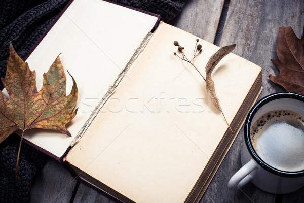 Vintage libro maglia maglione tazza di caffè Foto d'archivio © manera