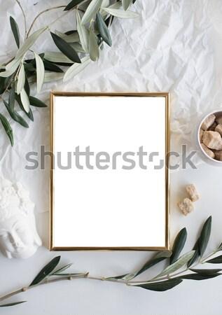 Stock photo: Golden frame mock-up on white tabletop