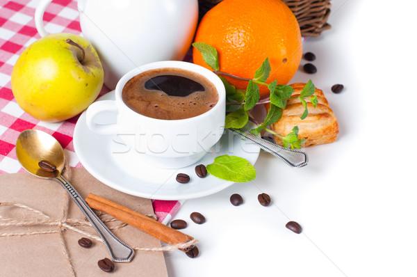 Stock fotó: Finom · reggeli · gyönyörű · kávé · sütemények · asztalterítő