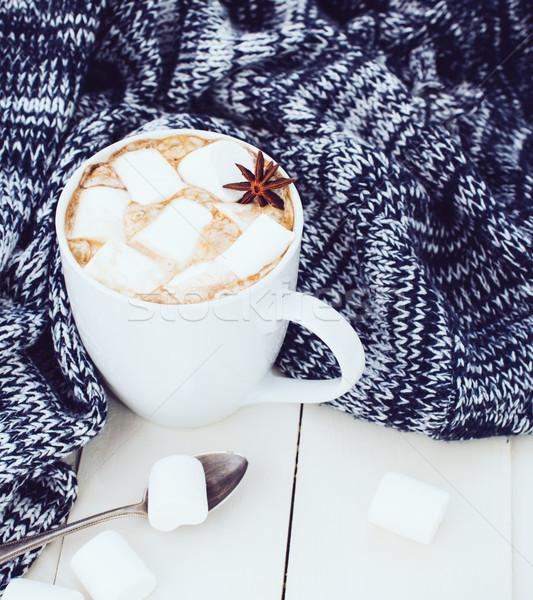 Stock fotó: Kényelmes · tél · otthon · csésze · forró · mályvacukor
