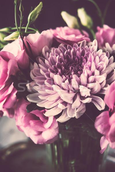 букет розовый цветы ваза Vintage Сток-фото © manera