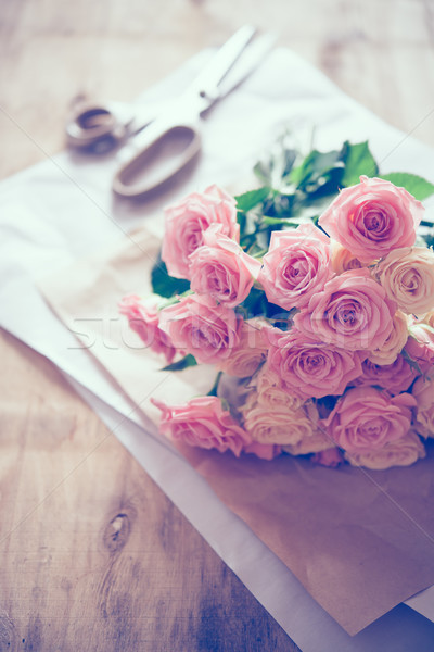 bouquet of fresh roses and scissors Stock photo © manera