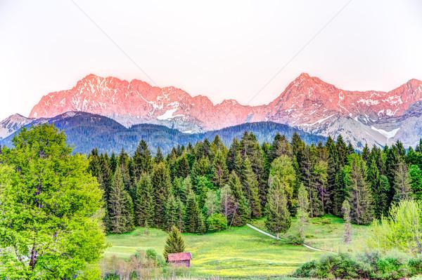 Sutset at the bavarian Karwendel mountains Stock photo © manfredxy