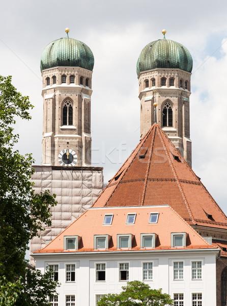 Münih towers Bina mimari Avrupa bayan Stok fotoğraf © manfredxy