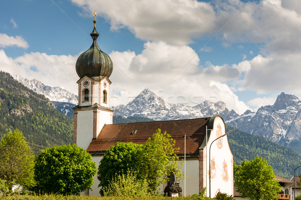 Church in the village Krün in Bavaria Stock photo © manfredxy