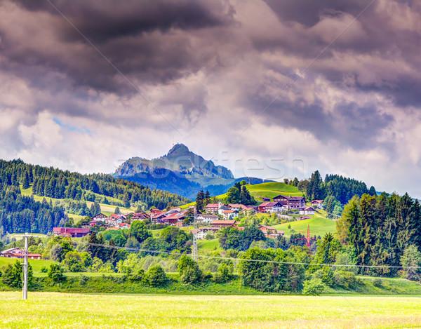 Village at mount Grünten in the bavarain alps Stock photo © manfredxy