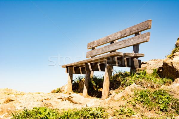 üres fából készült pad Alpok Stock fotó © manfredxy