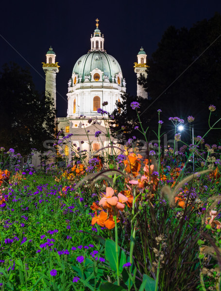 Illuminated Baroque Karlskirche in Vienna at night Stock photo © manfredxy