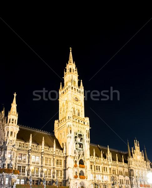 Prefeitura Munique Alemanha noite luz Foto stock © manfredxy