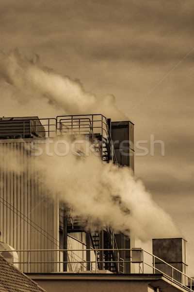 Air Pollution from the smokestack of a factory Stock photo © manfredxy