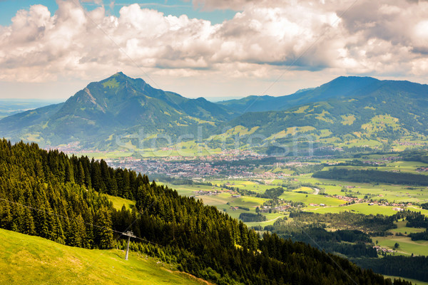 Dorp alpen natuur berg bergen wolk Stockfoto © manfredxy