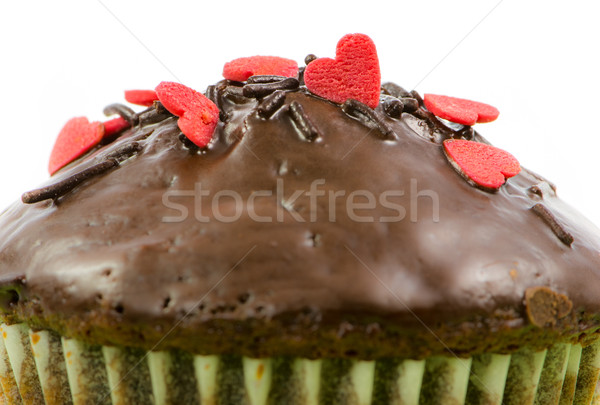 Isolated chocolate muffin with red sugar hearts Stock photo © manfredxy