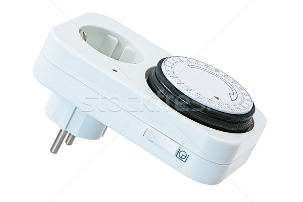 Isolated electric plug with time swich Stock photo © manfredxy