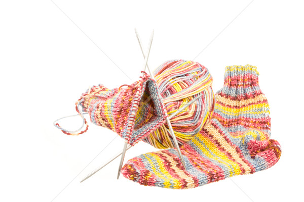 Isolated woolen socks with knitting equipment Stock photo © manfredxy