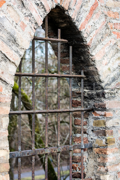 Barred window in a historic city wall Stock photo © manfredxy