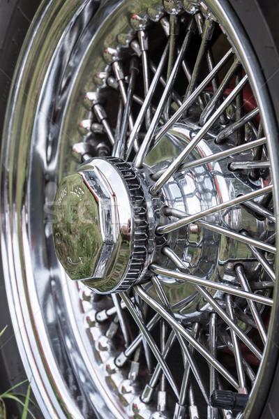 Régi autó kerék ezüst klasszikus autó autógumi Stock fotó © manfredxy