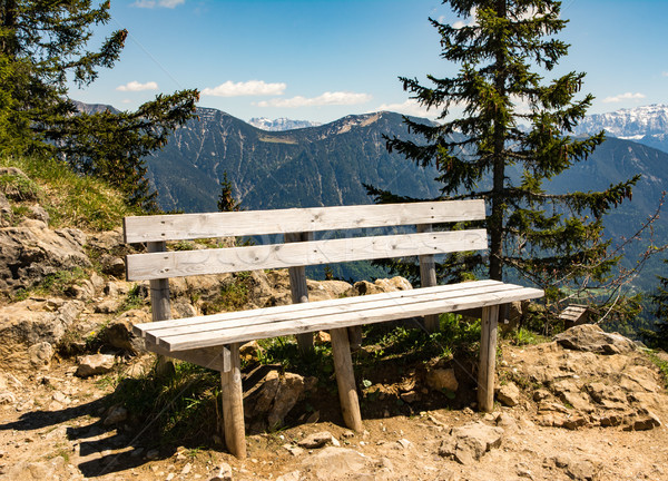 Empty wooden bench in the bavarian alps Stock photo © manfredxy