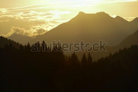 Alpino pôr do sol montanhas Alemanha nuvens luz Foto stock © manfredxy