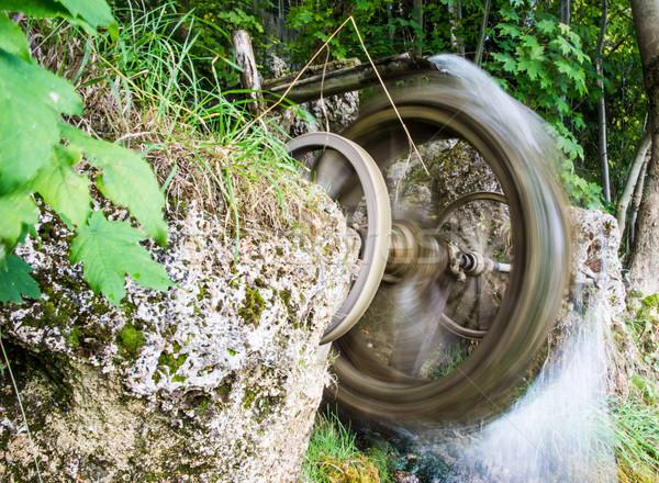 Klasszikus víz kerék bemozdult retro malom Stock fotó © manfredxy