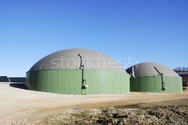 Biogáz megújuló energia gyártás épület kék gyár Stock fotó © manfredxy