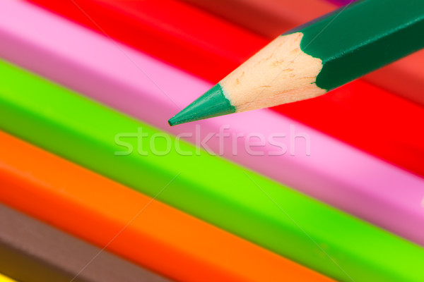 Tip groene houten potlood gekleurd krijtjes Stockfoto © manfredxy