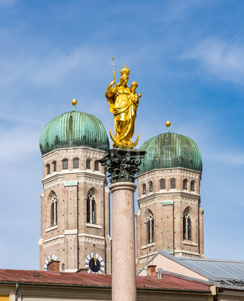 Marian column and the cathedral of Munich Stock photo © manfredxy