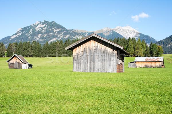 Alpine ahır dağlar çim dağ düşmek Stok fotoğraf © manfredxy