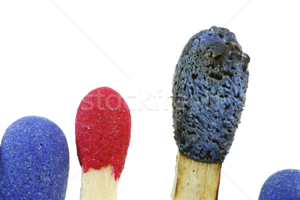 Kiégés gyufa felső kék csoport piros Stock fotó © manfredxy