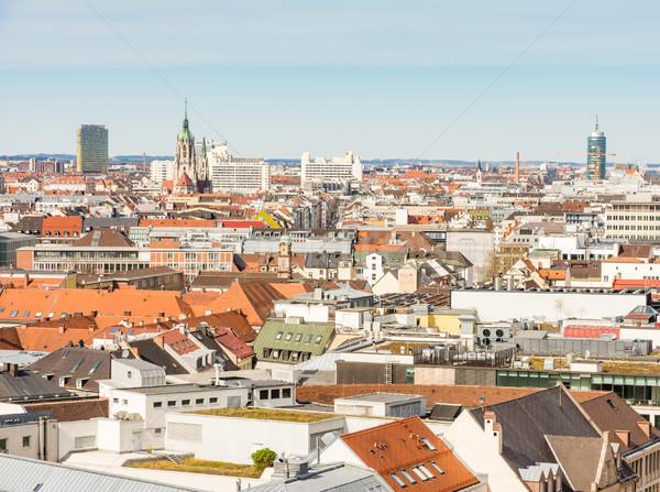 Légifelvétel város München ház épületek sziluett Stock fotó © manfredxy