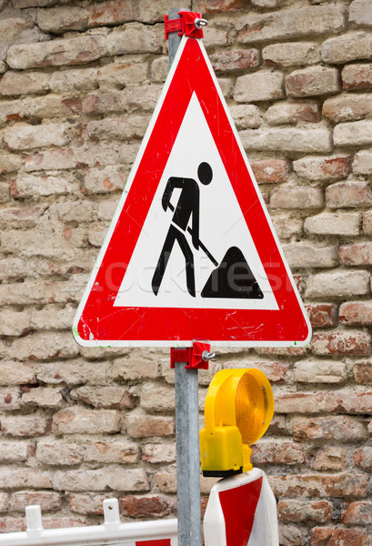 Traffic sign at a construction site Stock photo © manfredxy