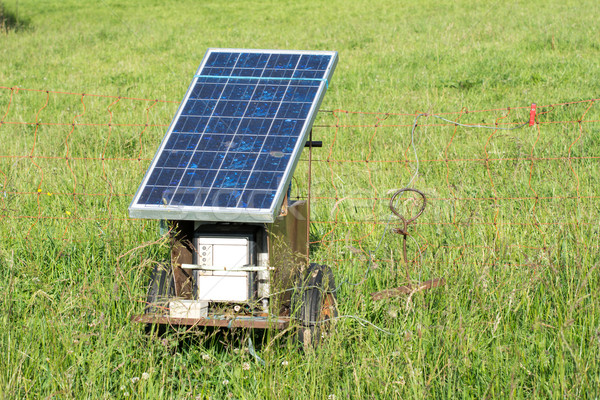 Electric Pastue Fence with Photovoltaic Stock photo © manfredxy