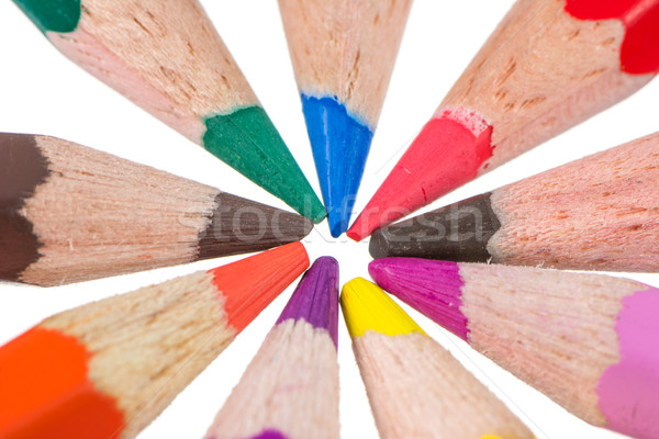 Isolated wooden colored pencils Stock photo © manfredxy