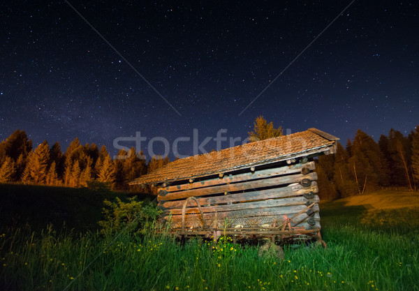 Wooden barn under a starry sky Stock photo © manfredxy