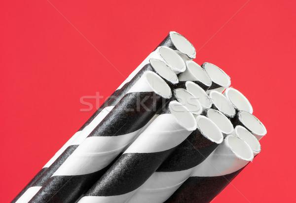 Pasiasty czarno białe biały plastikowe obiektu makro Zdjęcia stock © manfredxy