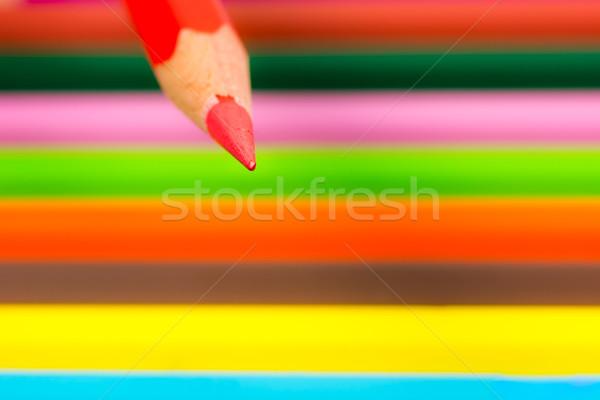 Borravaló piros fából készült ceruza színes zsírkréták Stock fotó © manfredxy