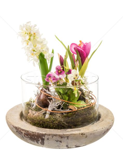 Foto stock: Primavera · artificial · flores · plástico · vidro · tigela