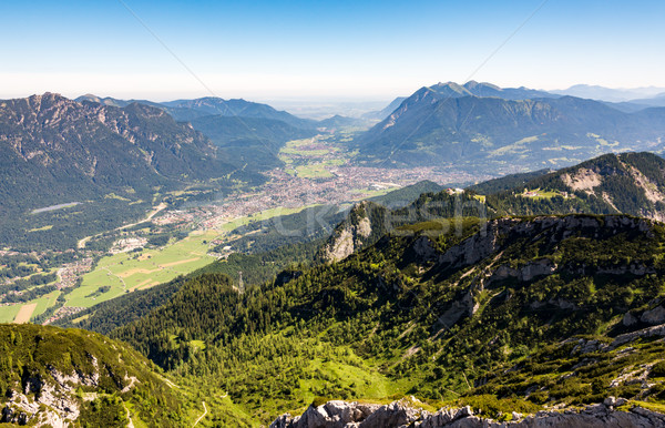 Aerial view over the village of Garmisch Stock photo © manfredxy